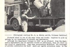 Sanitation workers load one of the city's open-top garbage trucks, July 1964. Courtesy of The Outsider, July 1964, William Ready Division of Archives and Research Collections, McMaster University.