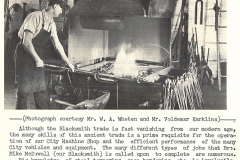 Blacksmith Mike McDowell at work in the city's machine shop, January 1965. Courtesy of The Outsider, January 1965, William Ready Division of Archives and Research Collections, McMaster University.