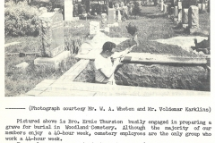 Ernie Thurston preparing a grave in Woodlawn Cemetery, July 1963. Courtesy of The Outsider, July 1963, William Ready Division of Archives and Research Collections, McMaster University.