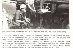 K. Orgil, J. Farkas, and C. Whalen operate the city's new valve-turning machine, August 1966. Courtesy of The Outsider, August 1966, William Ready Division of Archives and Research Collections, McMaster University.