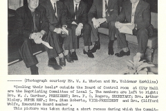 Local 5's 1963 negotiating committee. From left: President W.J. Gardner; Secretary F.O. Rogers; Arthur Risley, National Representative; Vice President Stan Roberts; and Executive-at-Large Clifford Wolfe. Courtesy of The Outsider, August 1963, William Ready Division of Archives and Research Collections, McMaster University.