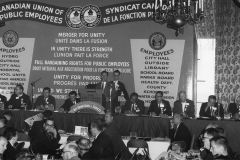 CUPE founding convention, with President Stan Little at the podium, 1963. Courtesy of CUPE National.