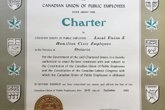 Local 5's CUPE charter, 1963. Courtesy of CUPE Local 5167.
