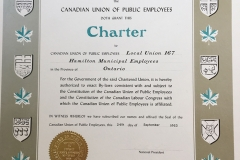 Local 167's CUPE charter, 1963. Courtesy of CUPE Local 5167.