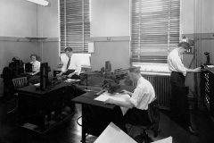 Employees working in the addressograph department at Hamilton's old city hall, 1949. Courtesy of The Hamilton Spectator Collection, Local History & Archives Department, Hamilton Public Library.
