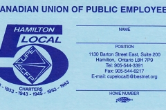 Local 5 membership card, ca. 1985. Courtesy of CUPE Local 5167.