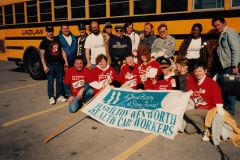 Bus to Ottawa, Local 5 and 167 members Tim Rhor, Chris Holland, Darlene Fortney Ed Thomas, Fred Loft, Jack Ambridge, Geneva Neil are pictured, ca. 1992. Courtesy of Ed Thomas.