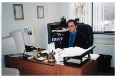 Gus Oliveira at his desk in the Local 167 office, 1998. Courtesy of CUPE Local 5167.