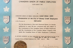 Local 1220's CUPE charter, 1992. Courtesy of CUPE Local 5167.