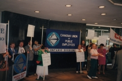 Rally at city hall during the CUPE Ontario Division Convention, 1993. Courtesy of Ed Thomas.