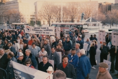 Ontario Federation of Labour delegates protesting Liquor Control Board cuts. Local 5 President Jim Keenan President (looking at camera) and, to his right, Local 167's Anna Rowtuski, ca. 1986. Courtesy of Ed Thomas.