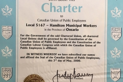 Local 5167's CUPE charter, 2000. Courtesy of CUPE Local 5167.