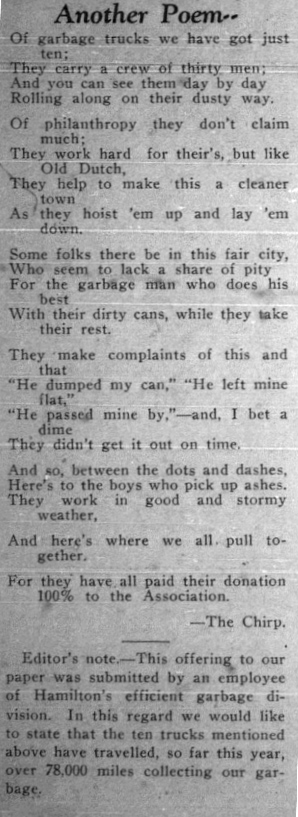 Poem written by a garbage worker, as featured in Hoot Civic News, September 1934.