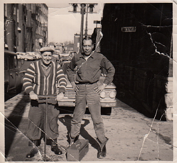 Local 5 members Cliff Thompson and Robert Braid on the job, ca. 1955. Courtesy of Ed Thomas.