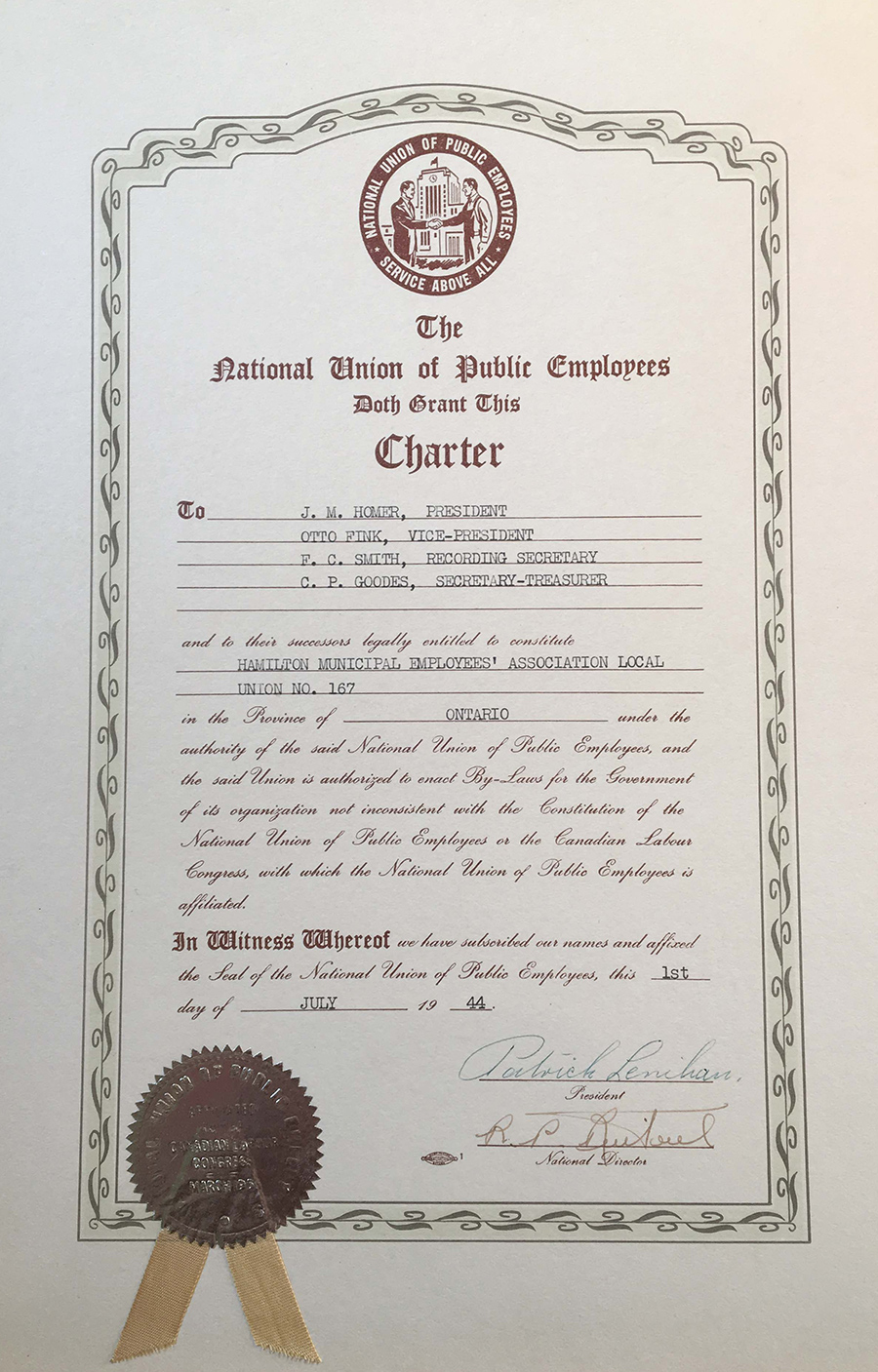 1944 - NUPE Local 167 Charter