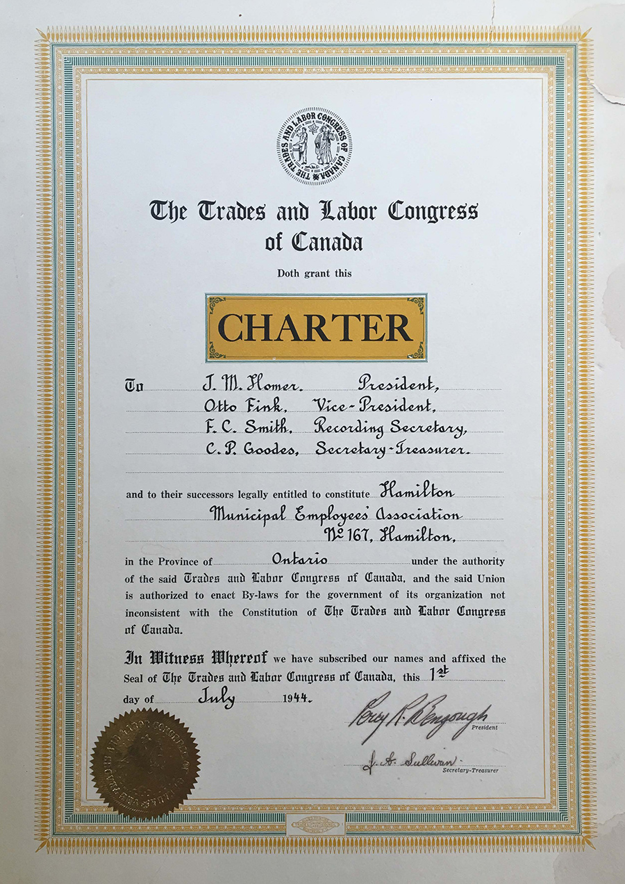 1944 - Local 167 Charter