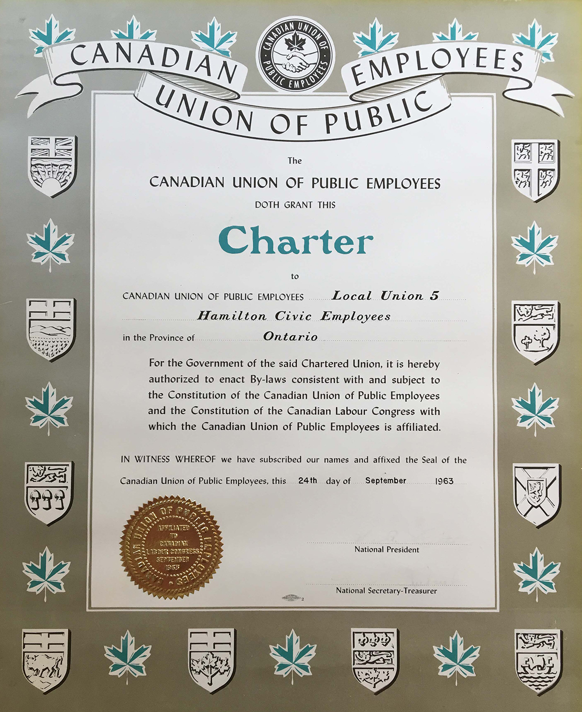 1963 - Local 5's CUPE charter
