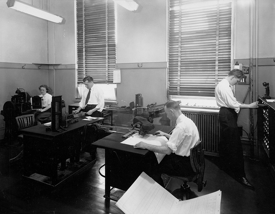 Addressograph department at Hamilton's old city hall